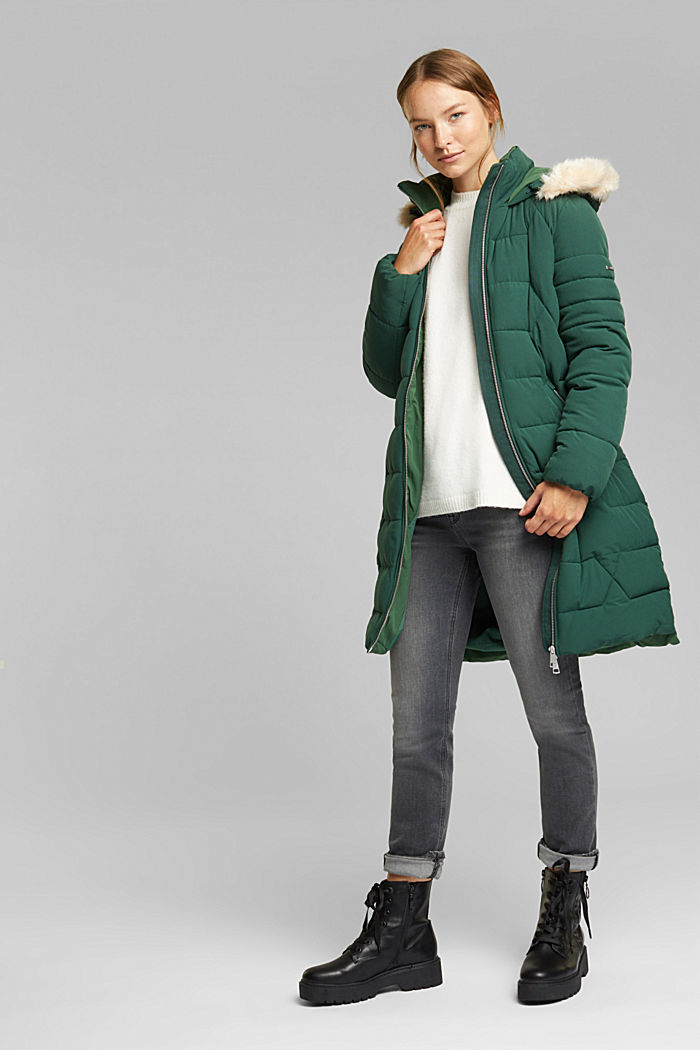 Recycled: quilted coat with a hood, DARK GREEN, detail image number 1