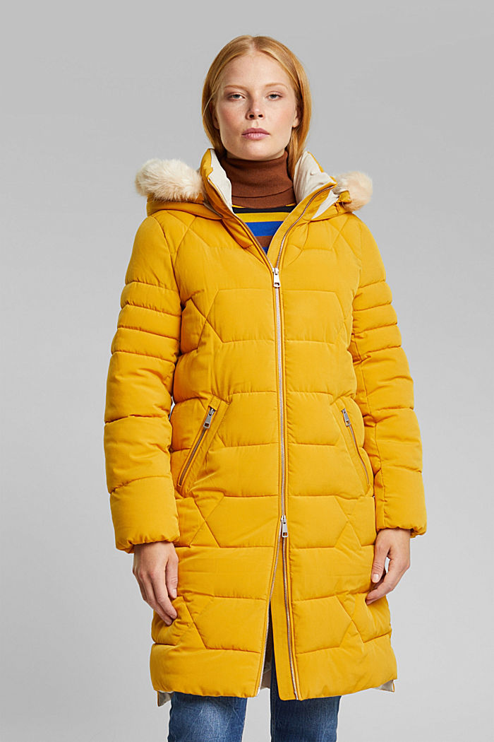 Recycled: quilted coat with a hood, BRASS YELLOW, detail image number 0