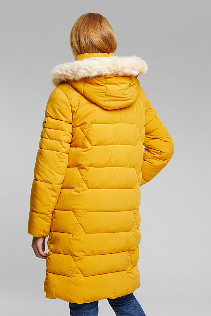 Recycled: quilted coat with a hood, BRASS YELLOW, detail image number 3