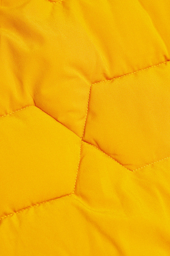 Recycled: quilted coat with a hood, BRASS YELLOW, detail image number 4