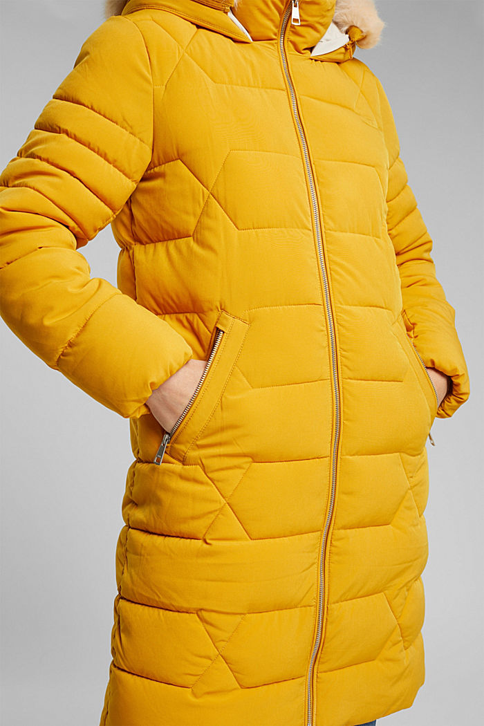 Recycled: quilted coat with a hood, BRASS YELLOW, detail image number 5