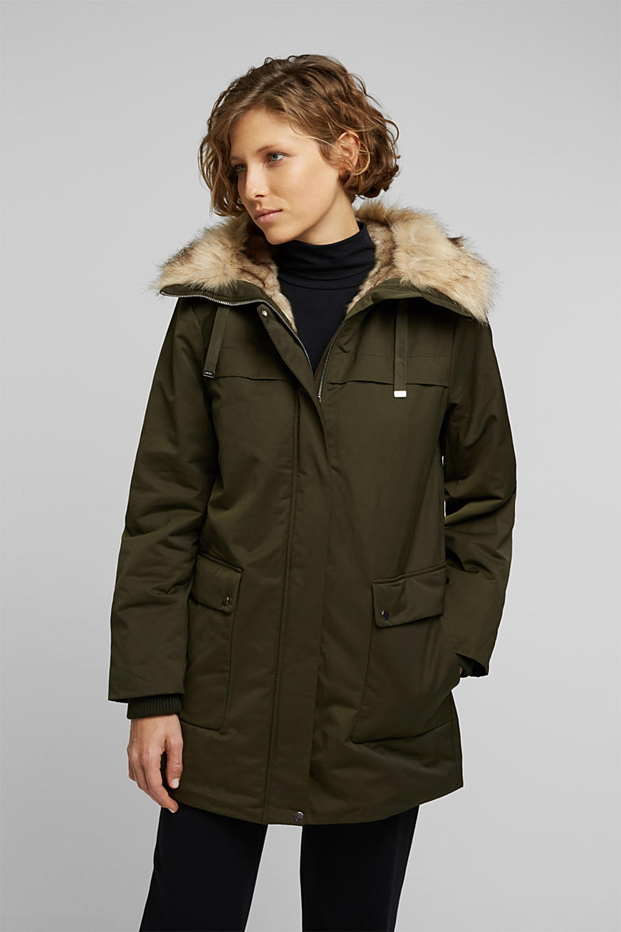 Parka with fake fur hood