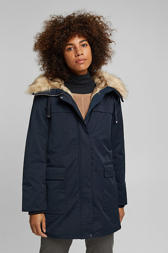 Parka with fake fur hood, NAVY, detail image number 0