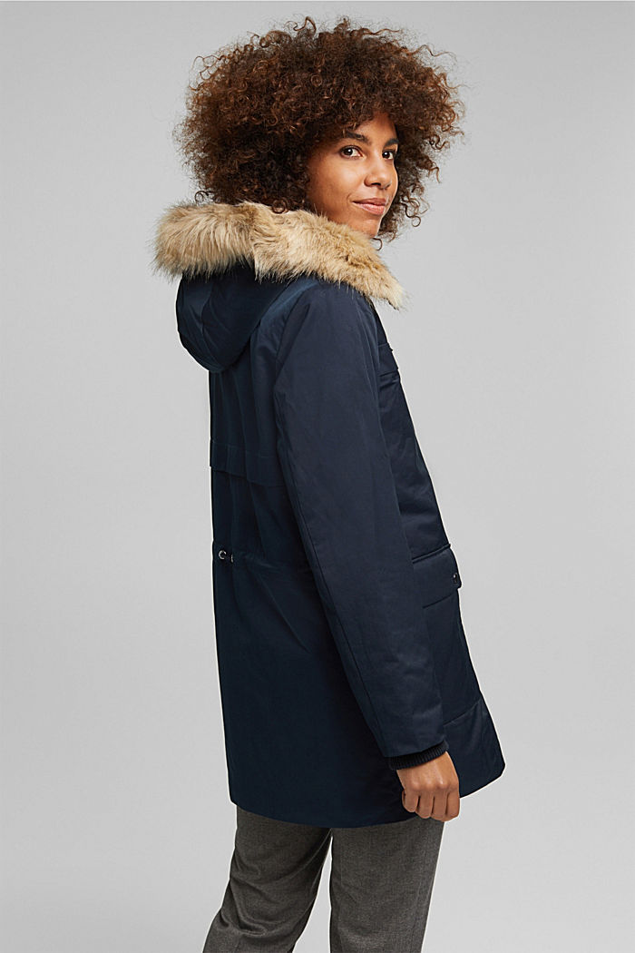 Parka with fake fur hood, NAVY, detail image number 3