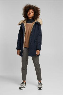 Parka with fake fur hood, NAVY, detail