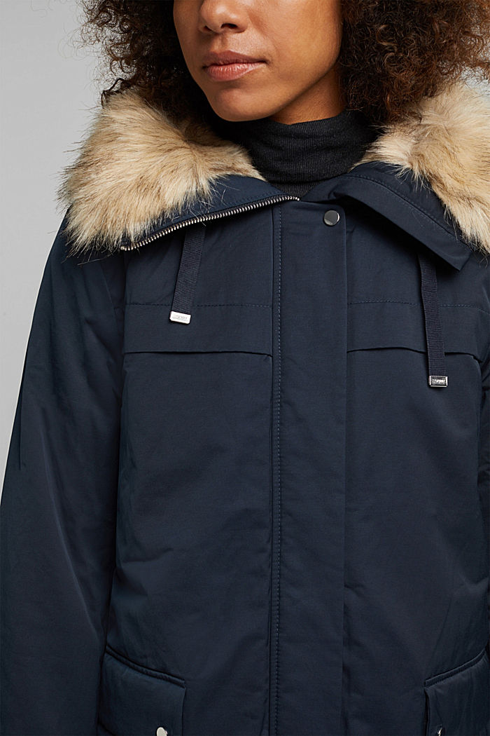 Parka with fake fur hood, NAVY, detail image number 2