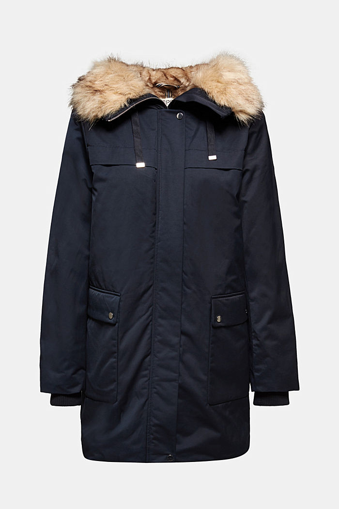 Parka with fake fur hood, NAVY, detail image number 6