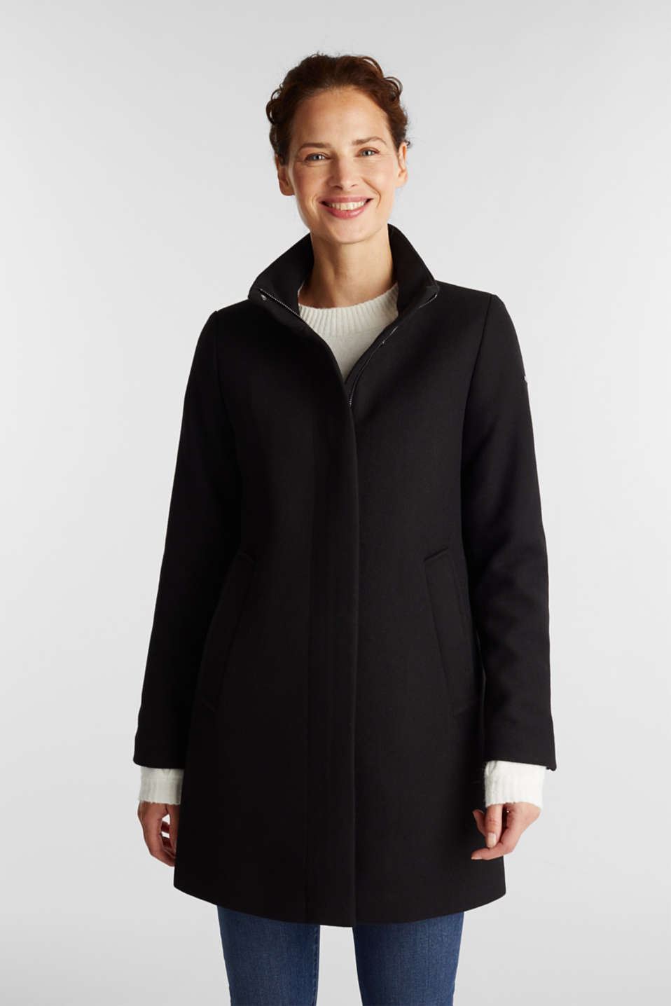 Esprit - Recycled: wool blend coat