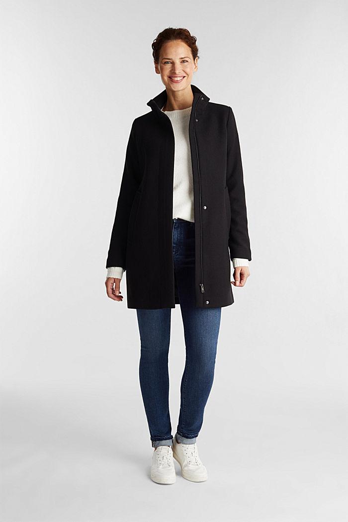 Recycled: wool blend coat, BLACK, detail image number 1