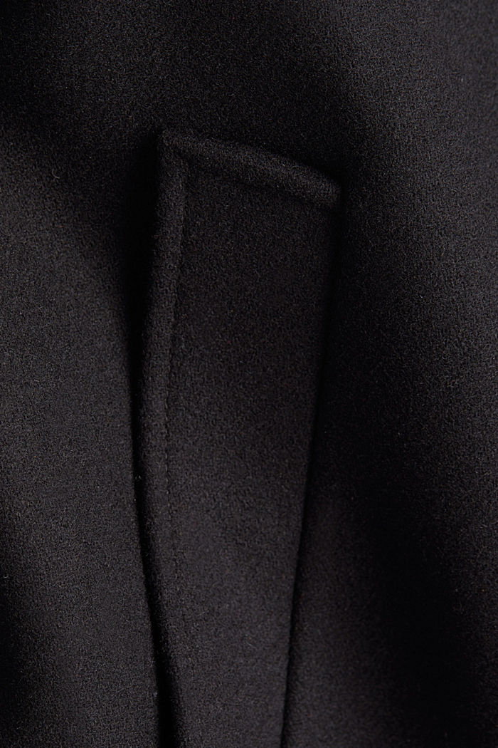 Recycled: wool blend coat, BLACK, detail image number 4