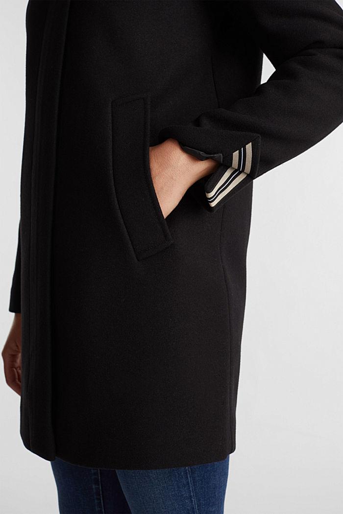 Recycled: wool blend coat, BLACK, detail image number 5
