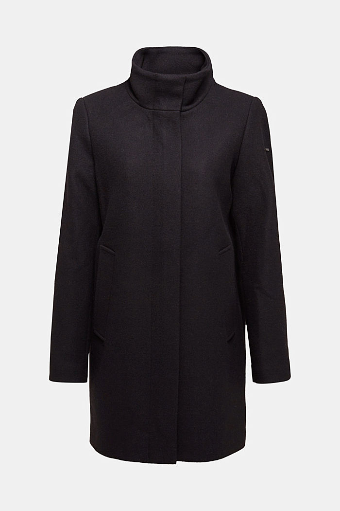 Recycled: wool blend coat, BLACK, detail image number 6