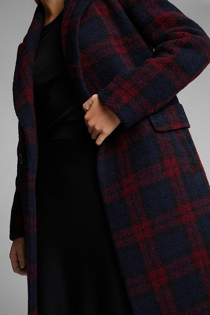 Bouclé coat in blended wool, RED, detail image number 2