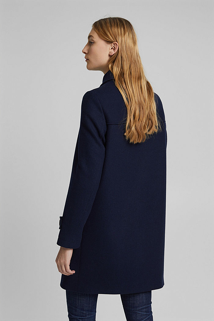 Recycled: Wool blend duffel coat, NAVY, detail image number 3