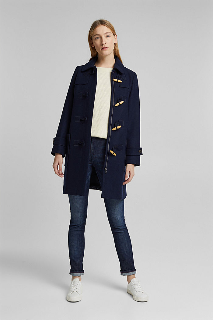 Recycled: Wool blend duffel coat, NAVY, detail image number 1
