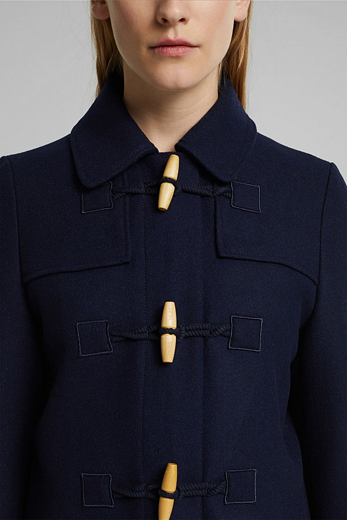 Recycled: Wool blend duffel coat, NAVY, detail image number 2