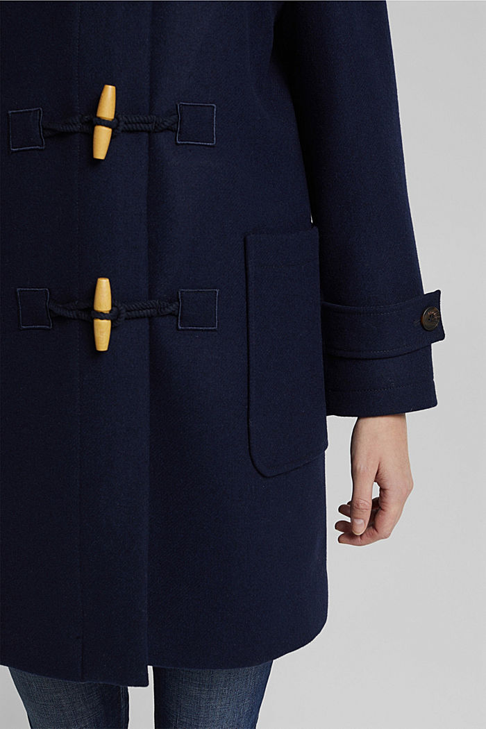 Recycled: Wool blend duffel coat, NAVY, detail image number 4