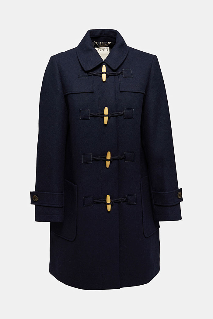 Recycled: Wool blend duffel coat, NAVY, detail image number 5