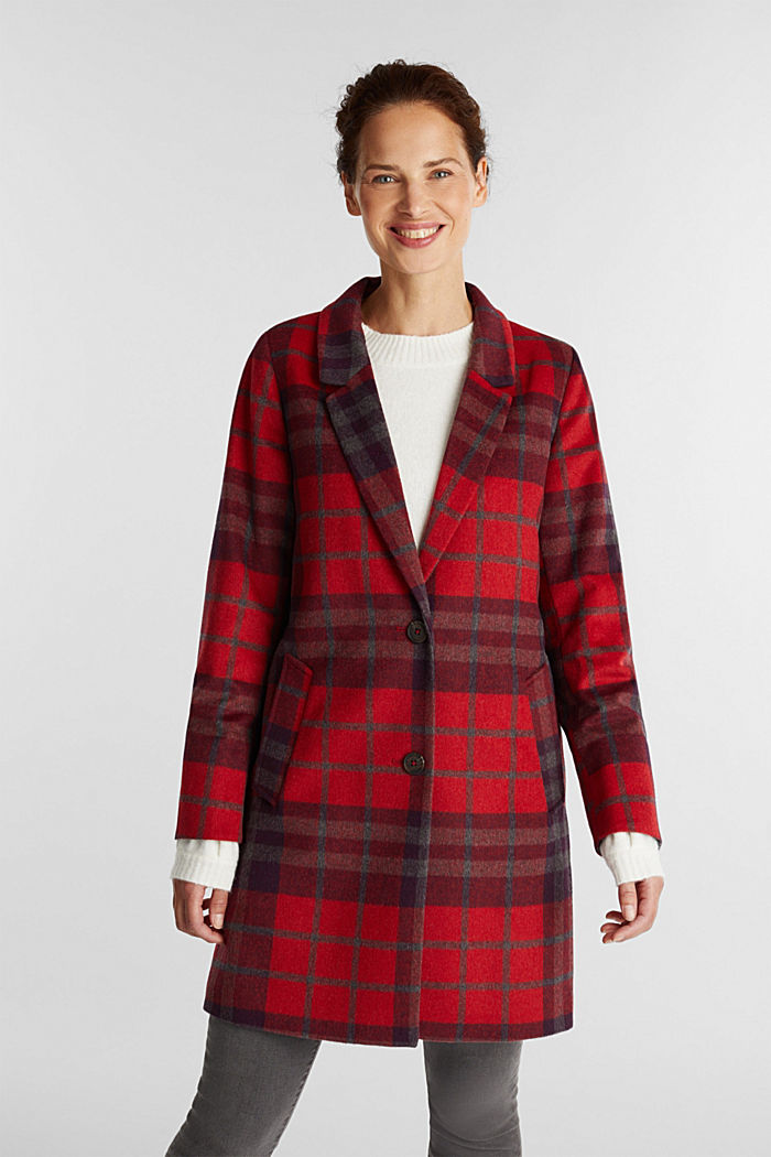 Check coat made of blended wool, RED, detail image number 0