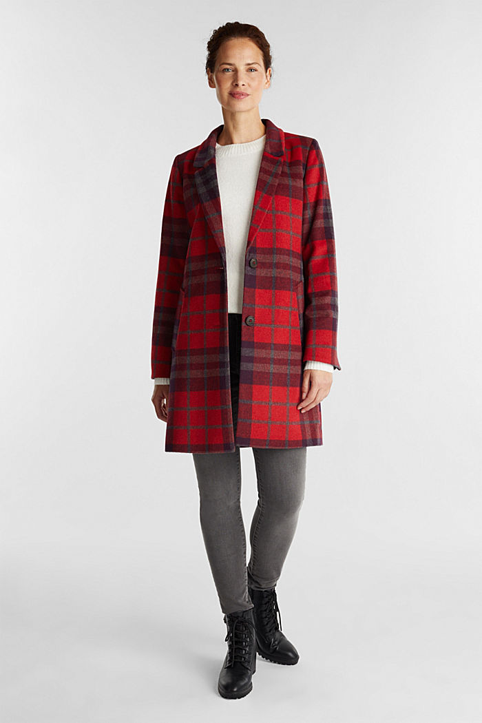 Check coat made of blended wool, RED, detail image number 1