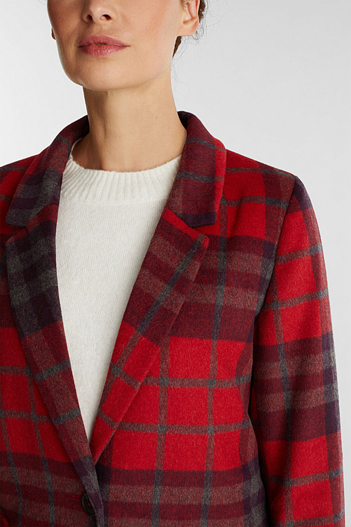 Check coat made of blended wool, RED, detail image number 2