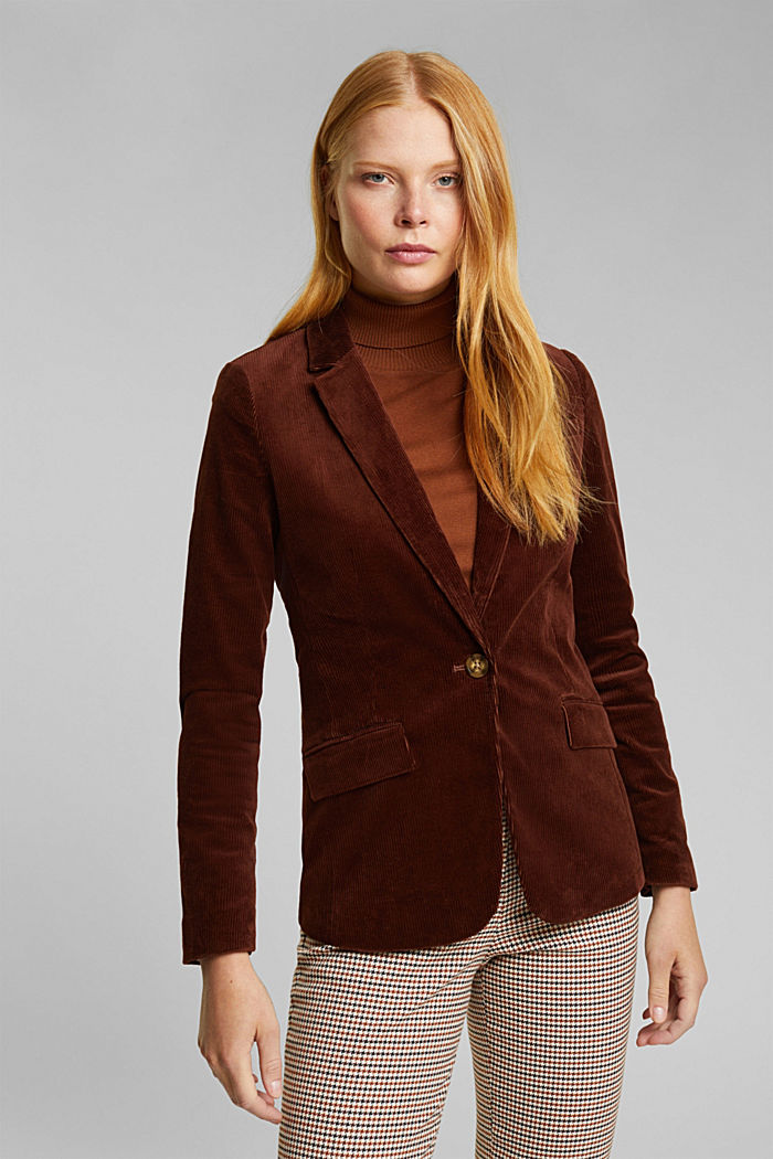 Fitted corduroy blazer made of cotton, BROWN, detail image number 0