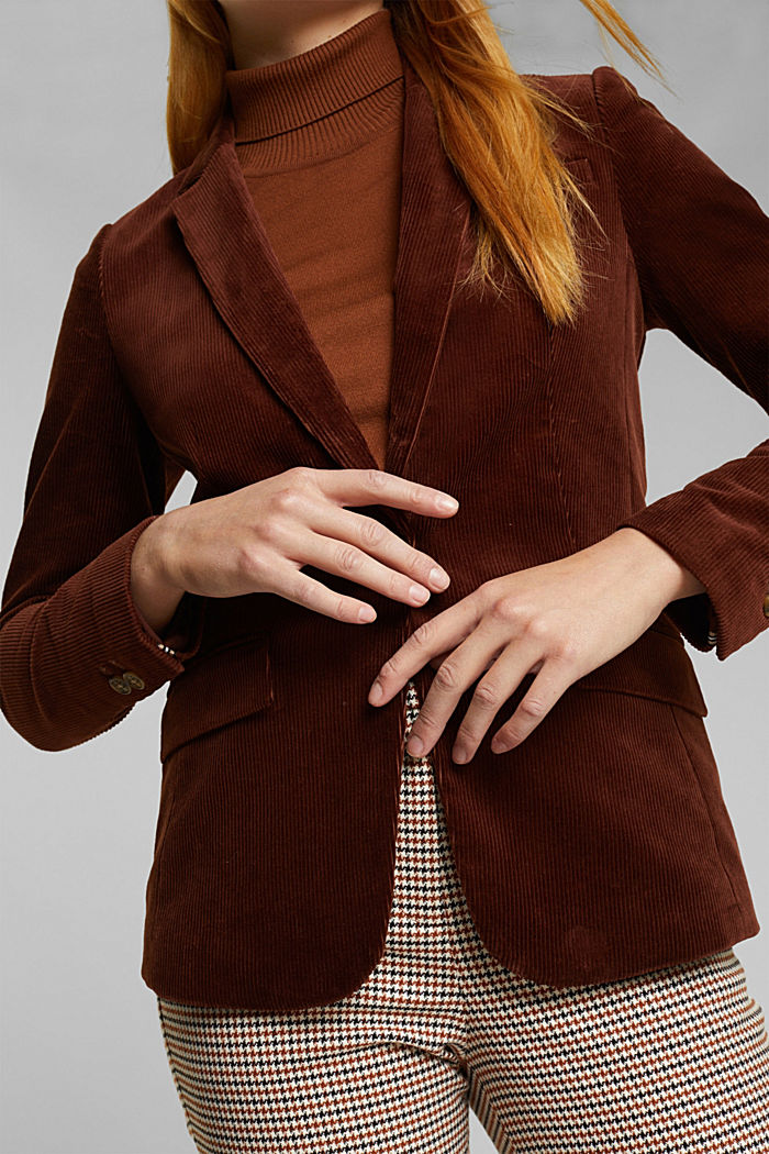 Fitted corduroy blazer made of cotton, BROWN, detail image number 2