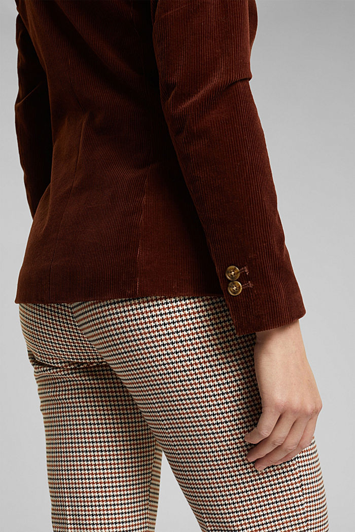 Fitted corduroy blazer made of cotton, BROWN, detail image number 5