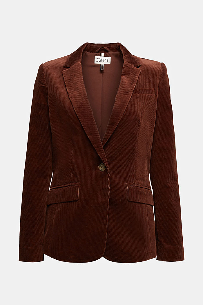 Fitted corduroy blazer made of cotton, BROWN, detail image number 6