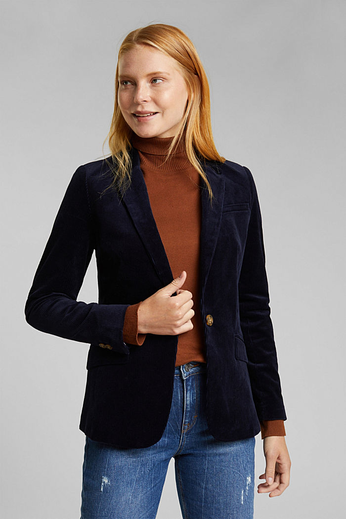 Fitted corduroy blazer made of cotton, NAVY, detail image number 0