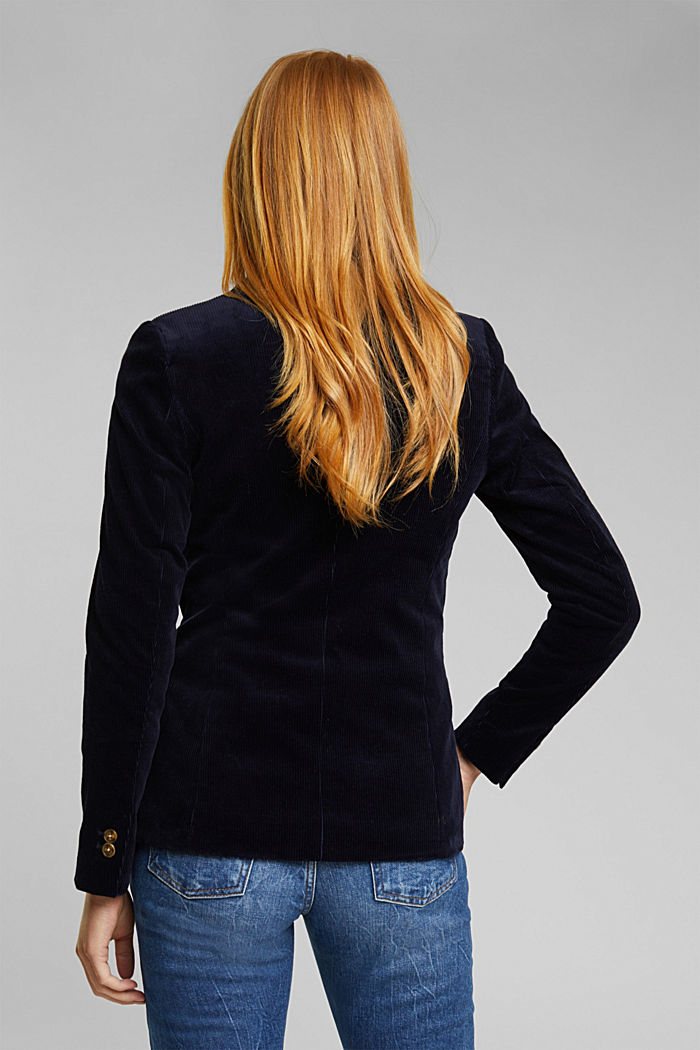 Fitted corduroy blazer made of cotton, NAVY, detail image number 3