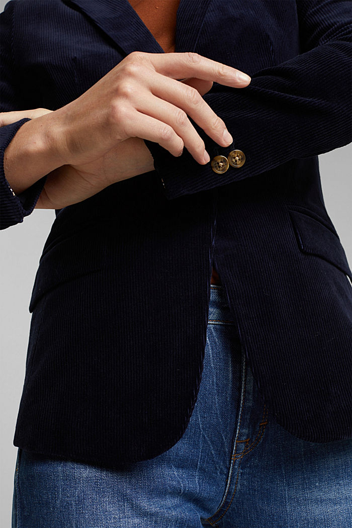 Fitted corduroy blazer made of cotton, NAVY, detail image number 2