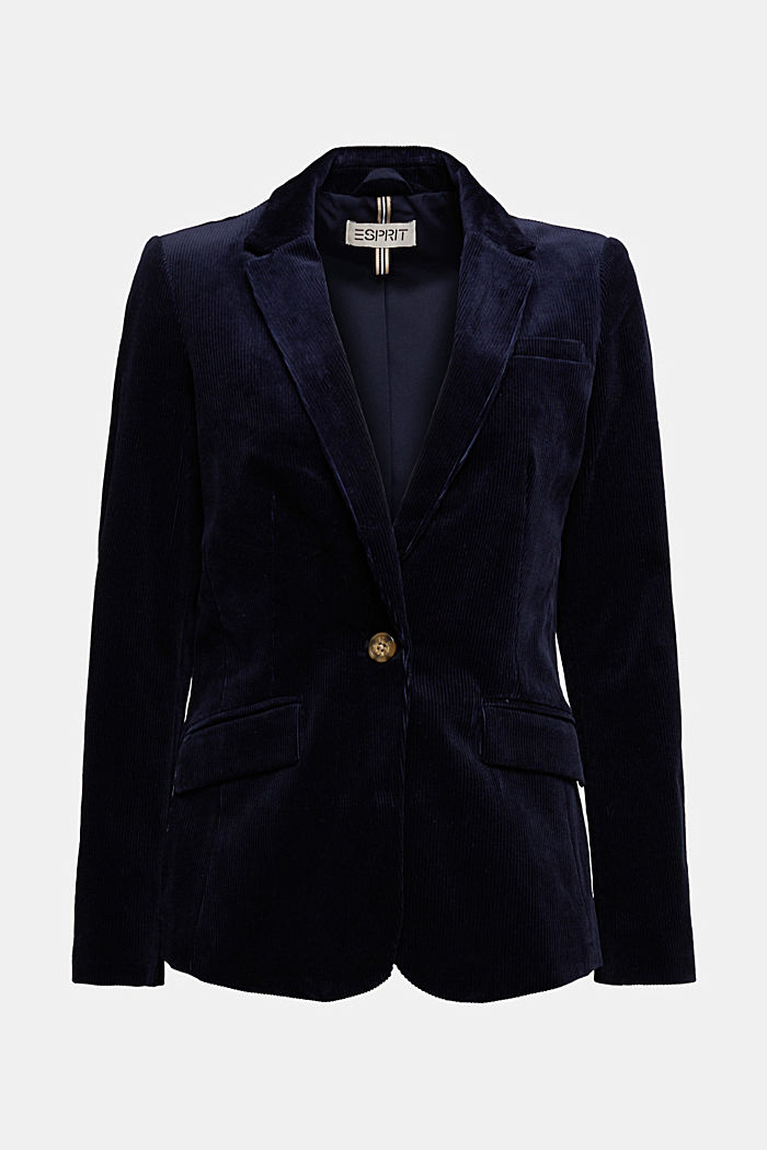 Fitted corduroy blazer made of cotton, NAVY, detail image number 6