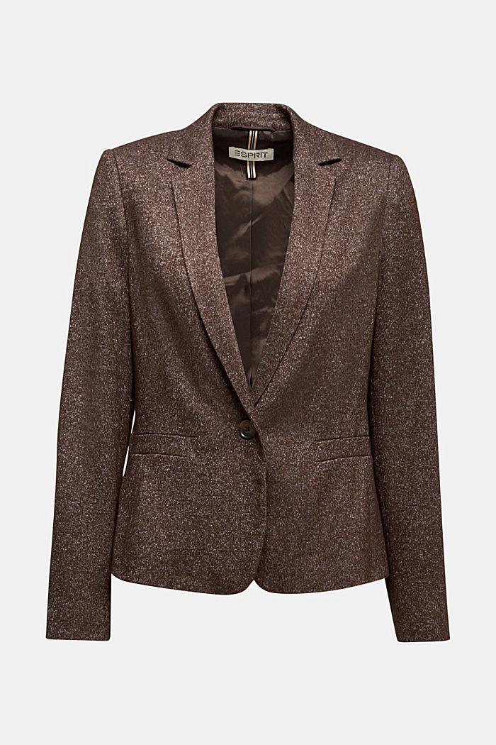 Blazer made of ultra-soft melange jersey, DARK BROWN, detail image number 5