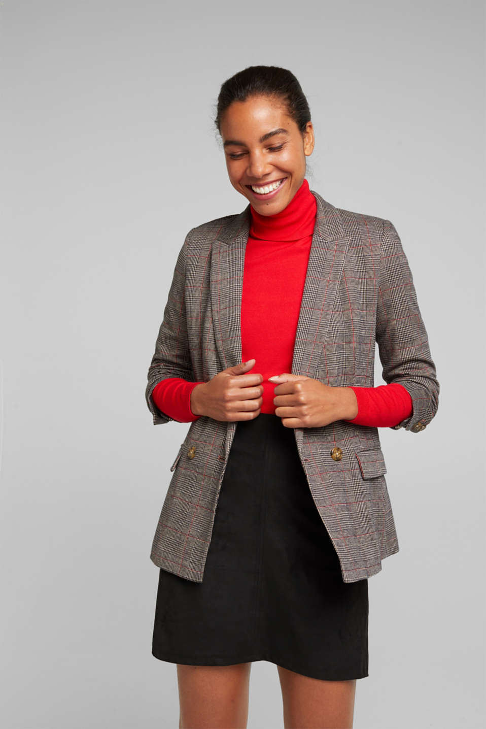 Esprit - Double-breasted blazer with a Prince of Wales check pattern