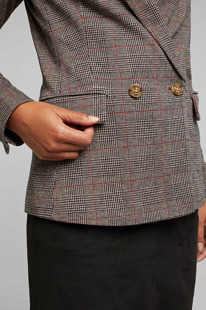 Double-breasted blazer with a Prince of Wales check pattern, CAMEL, detail image number 2