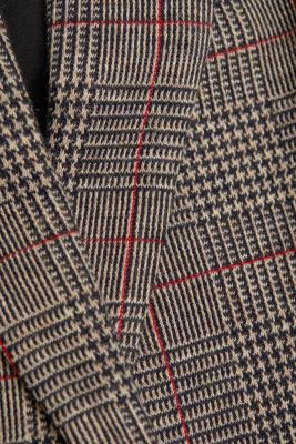 Double-breasted blazer with a Prince of Wales check pattern, CAMEL, detail