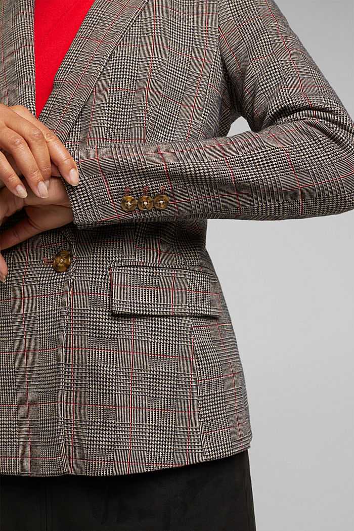 Double-breasted blazer with a Prince of Wales check pattern, CAMEL, detail image number 5