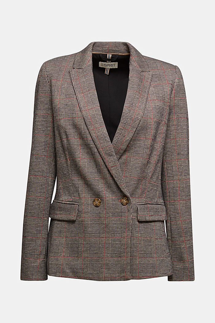 Double-breasted blazer with a Prince of Wales check pattern, CAMEL, detail image number 7