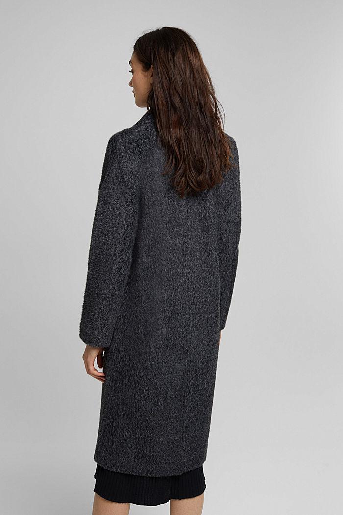 Melange faux fur coat, BLACK, detail image number 3