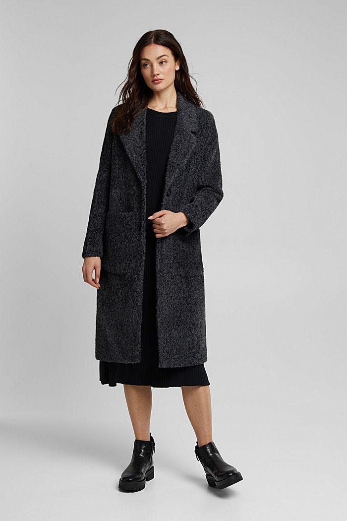 Melange faux fur coat, BLACK, detail image number 1