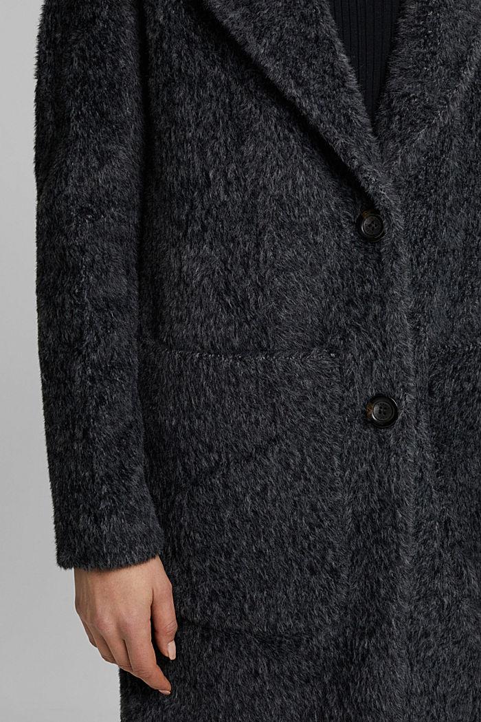 Melange faux fur coat, BLACK, detail image number 2