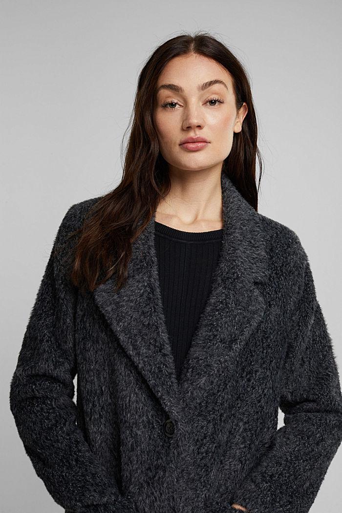 Melange faux fur coat, BLACK, detail image number 4
