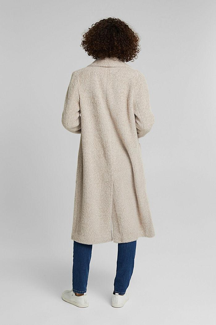 Melange faux fur coat, CREAM BEIGE, detail image number 3