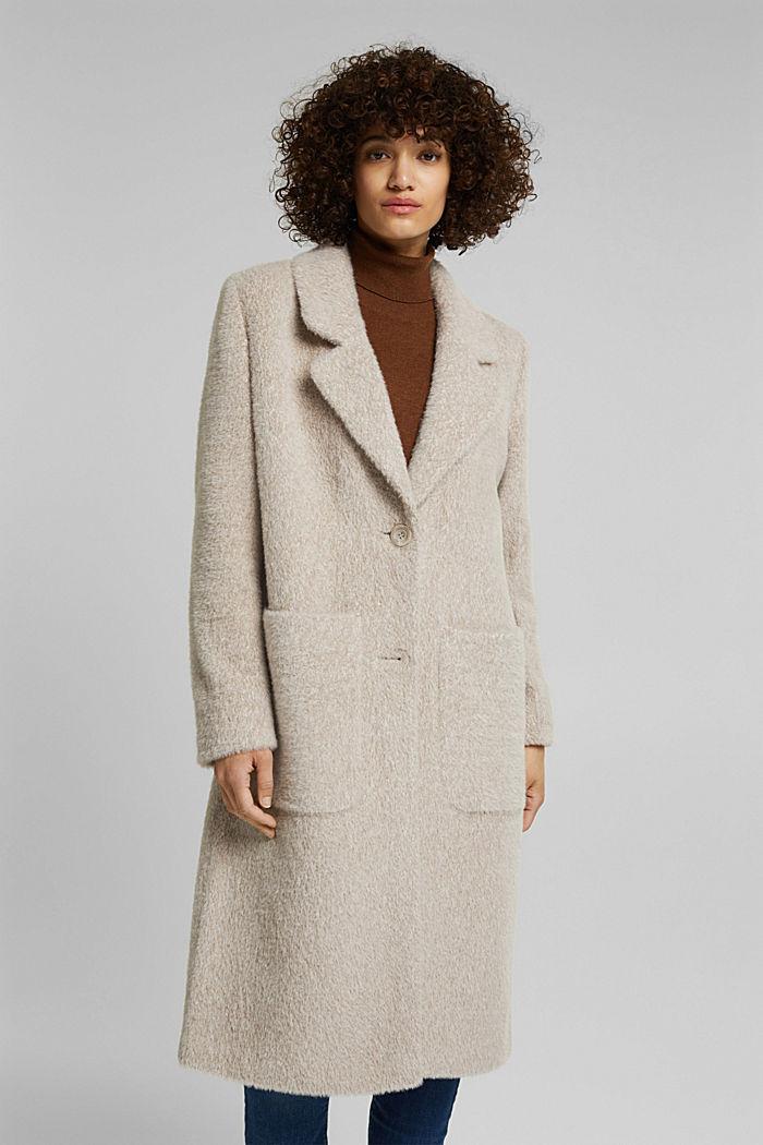 Melange faux fur coat, CREAM BEIGE, detail image number 4