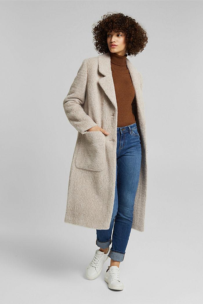 Melange faux fur coat, CREAM BEIGE, detail image number 1