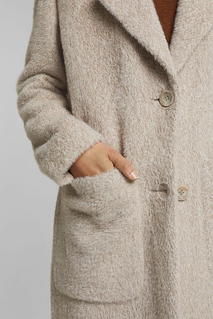 Melange faux fur coat, CREAM BEIGE, detail image number 2