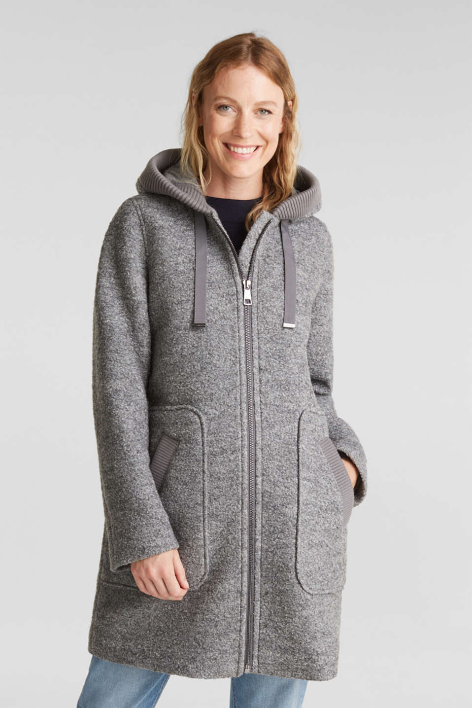 Esprit - Made of blended wool: Bouclé coat with hood
