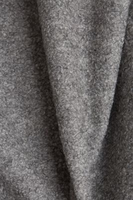Made of blended wool: Bouclé coat with hood, GUNMETAL 5, detail