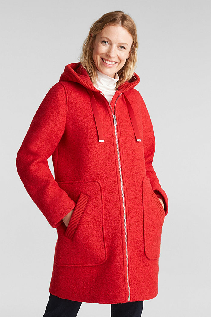 Made of blended wool: Bouclé coat with hood, RED, detail image number 0